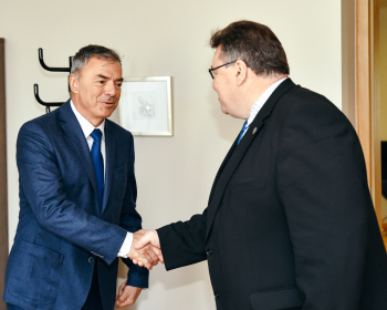 Ректор ЕГУ проф. Сергей Игнатов встретился с министром иностранных дел Литвы Линасом Линкявичюсом